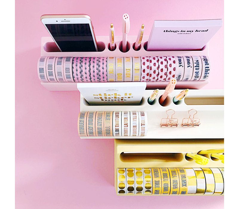 Desk Organizer Washi Pink/White