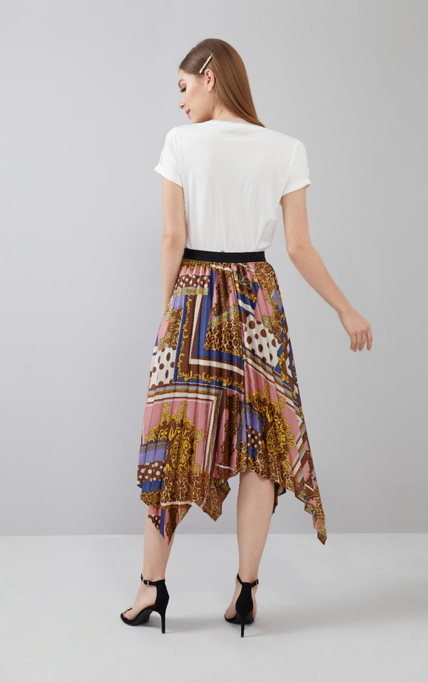 Printed & Pleated Skirt