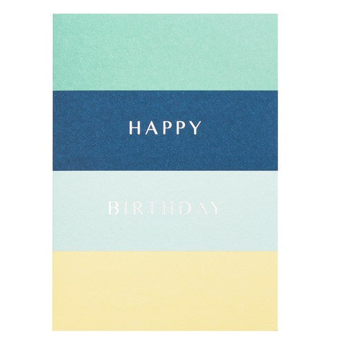 A6 Greeting Card Happy Birthday Stripe Blue: Greeting Cards