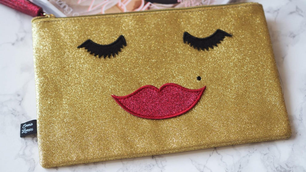 Bloggers favourite gold sparkly Makeup Clutch Bag, Emma Lomax