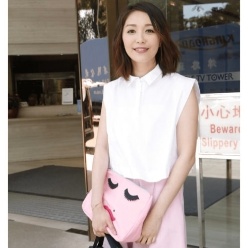 Chinese girl holding Pink Canvas Embroidered Face Wash Bag - Emma Lomax