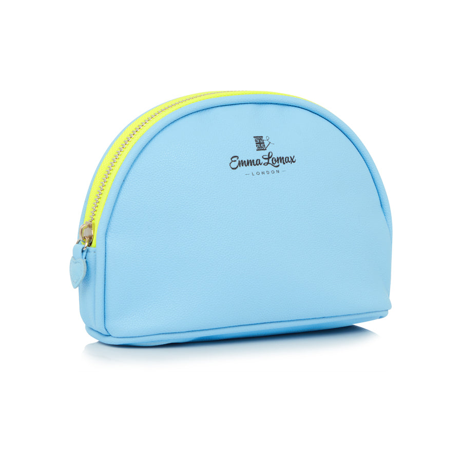 Plain Baby Blue Round Makeup Bag