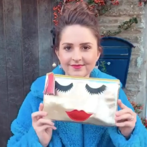 Golden Sparkly Embroidered Face Makeup Clutch - Emma Lomax
