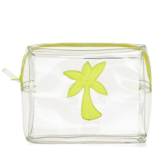 Clear PVC Yellow Palm Tree travel toiletry makeup bag, Emma Lomax