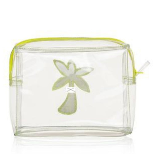 Clear PVC Yellow Palm Tree travel toiletry makeup bag, Emma Lomax reverse