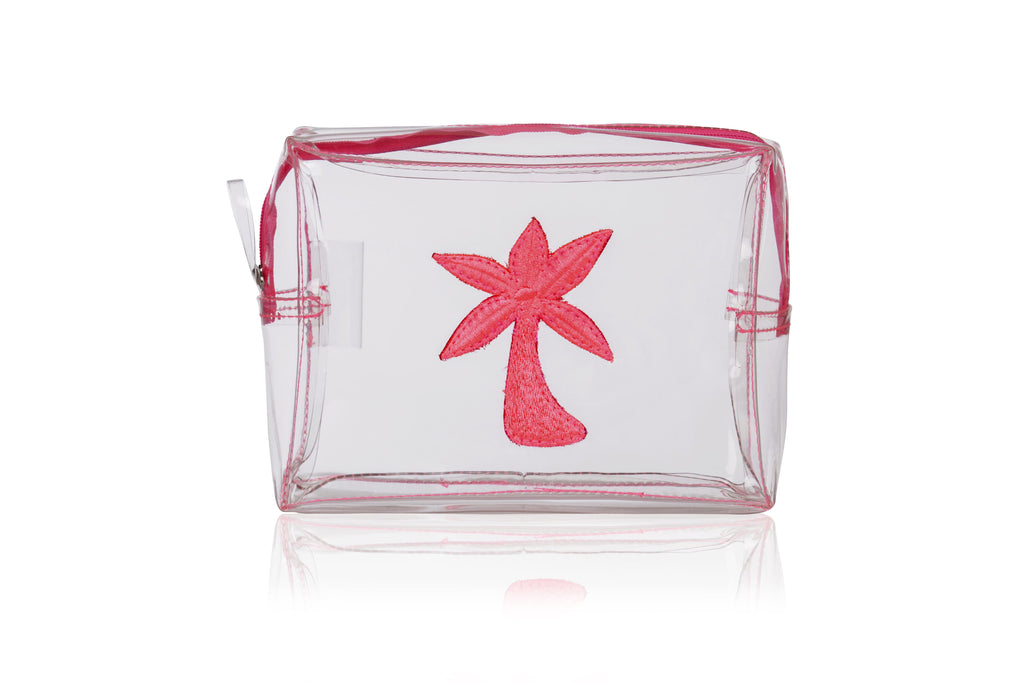 Clear Palm Tree Make up Bag (Pink)