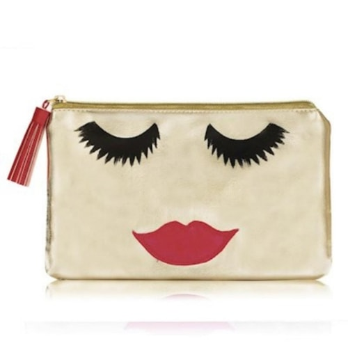 Golden Metallic PVC Emoji Face Makeup Clutch Bag, Emma Lomax
