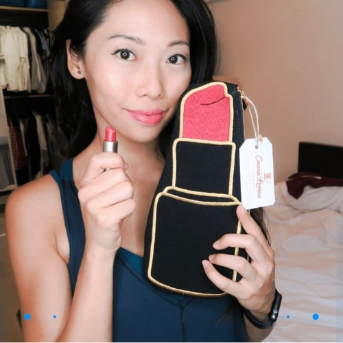Customer Photo with Lipstick Shaped Makeup Pouch, Emma Lomax