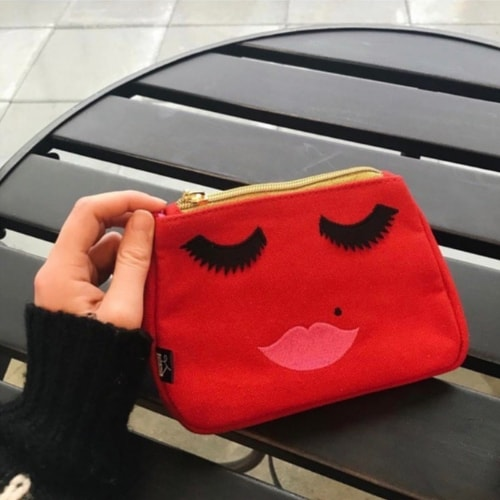 Red Canvas Embroidered Face Makeup Bag - Emma Lomax