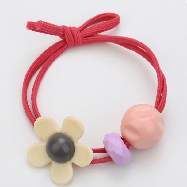 Flower and Bead Hair Ties Set of 3