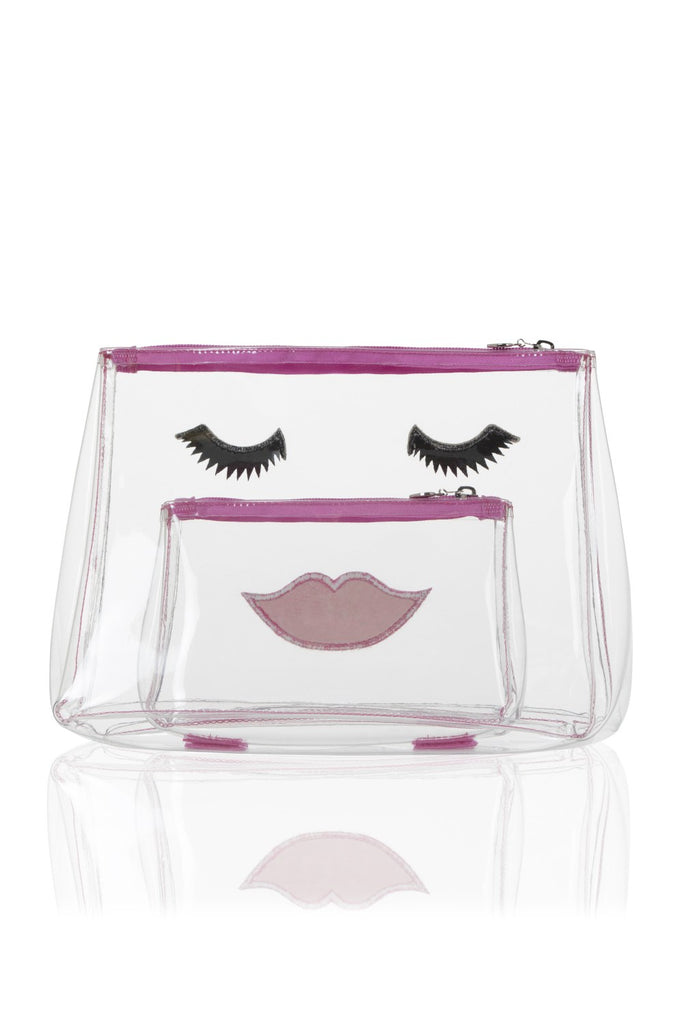 Clear PVC Cute Face Make Up Bag and  Wash Bag Set