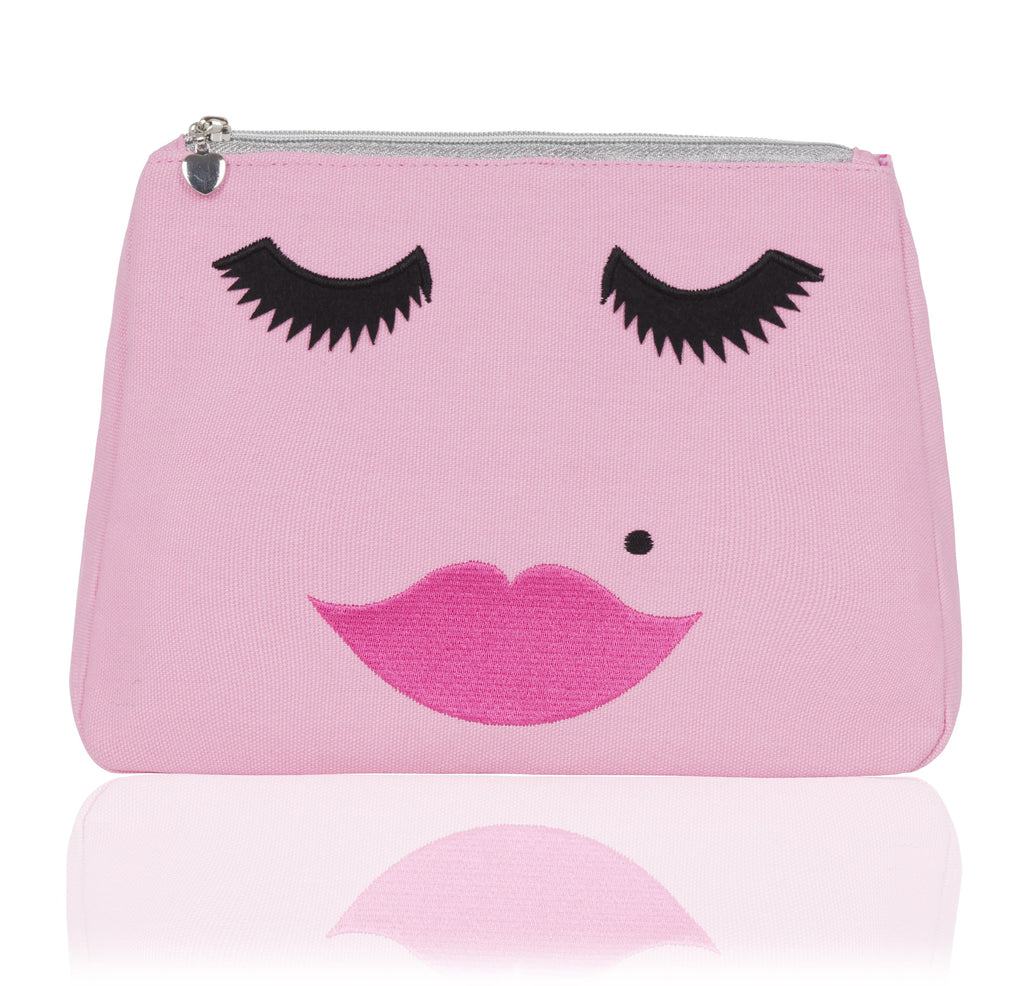 Pink Canvas emoji embroidered face wash bag, Emma Lomax