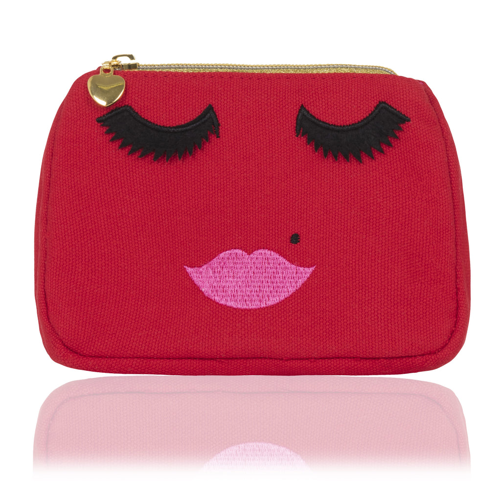 Red canvas emoji face makeup bag, Emma Lomax