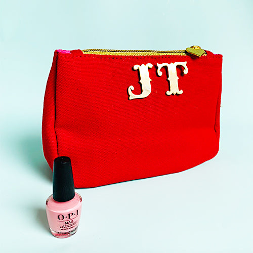 Red Canvas Embroidered Emoji Face Wash Bag with Monogram Initials, Emma Lomax