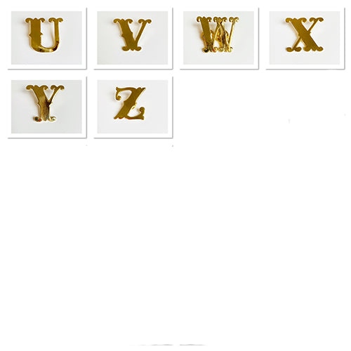 Gold Monogram Letters From U to Z, Emma Lomax