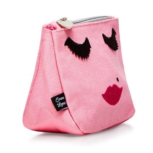 pink canvas emoji face makeup bag, Emma Lomax Side view