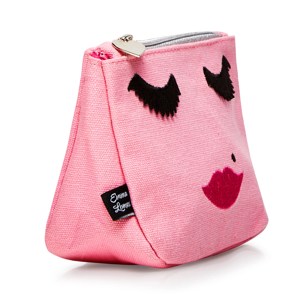 Pink Canvas emoji embroidered face wash bag, Emma Lomax side view