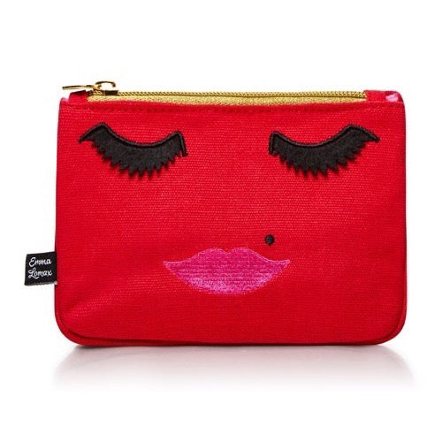 Red Canvas Embroidered Emoji Face Wash  Bag, Emma Lomax