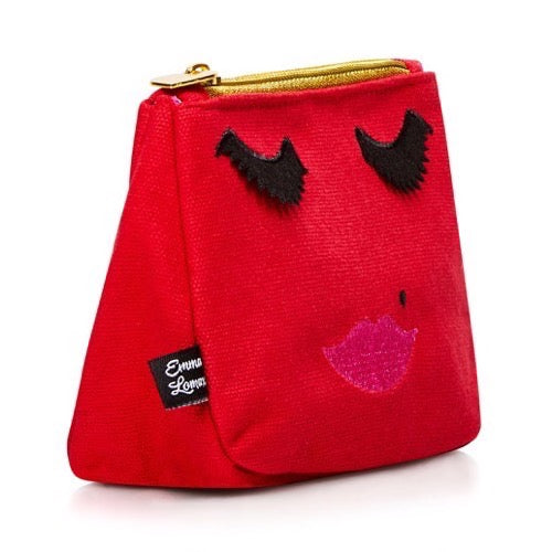 Red canvas emoji face makeup bag, Emma Lomax side view