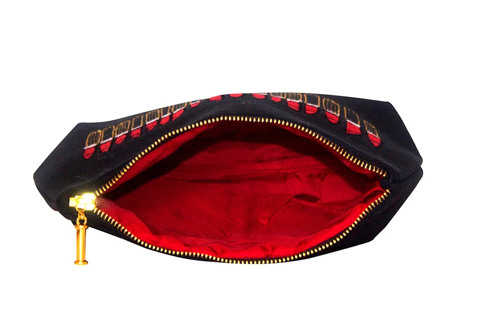 Red Lipstick Embroidered Black Makeup Bag