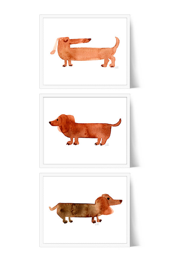 Dachshund Watercolor Art Print Set of 3