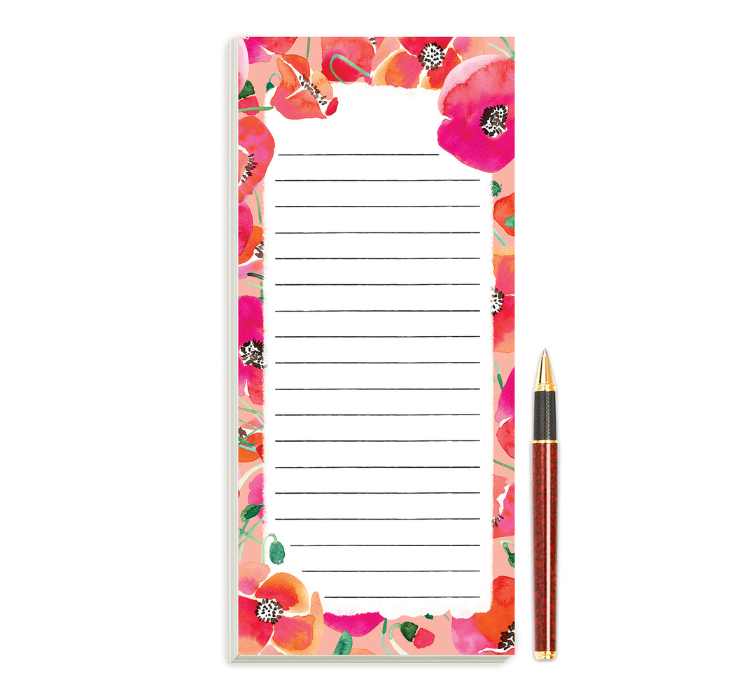 Poppies Magnetic Notepad by Sara Franklin
