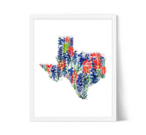 Texas Bluebonnets Map by Sara Franklin