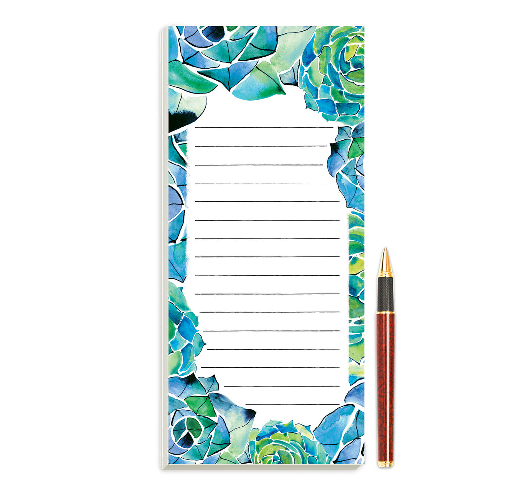Succulents Magnetic Notepad by Sara Franklin