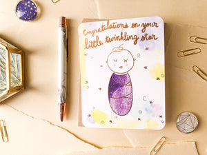 Twinkling Star Baby Card