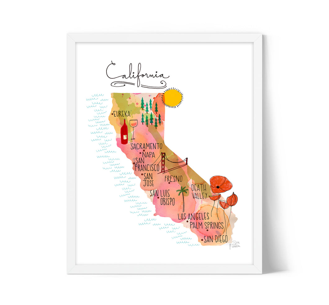 California Sunset Map by Sara Franklin