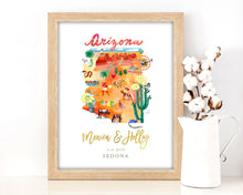 Load image into Gallery viewer, Personalized Arizona Wedding Map by Sara Franklin