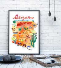Load image into Gallery viewer, Arizona Map Poster by Sara Franklin