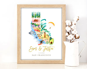 Personalized California Wedding Map by Sara Franklin