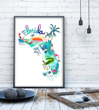 Load image into Gallery viewer, Florida Map Poster by Sara Franklin