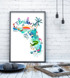 Florida Map Poster by Sara Franklin