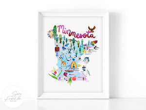 Minnesota Map by Sara Franklin