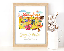 Load image into Gallery viewer, Personalized Pennsylvania Wedding Map by Sara Franklin
