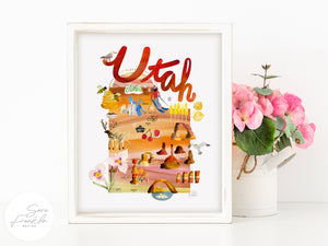 Utah Map by Sara Franklin