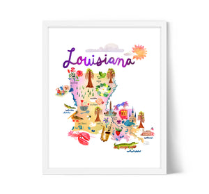 Louisiana Map by Sara Franklin