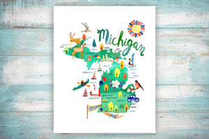 Michigan Map by Sara Franklin