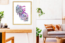 Load image into Gallery viewer, California Succulents Map in Wine by Sara Franklin