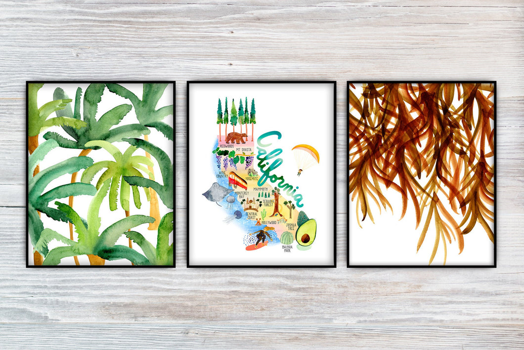 California Coastal Set of 3 Prints by Sara Franklin