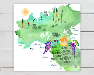 Northern Italy Map by Sara Franklin