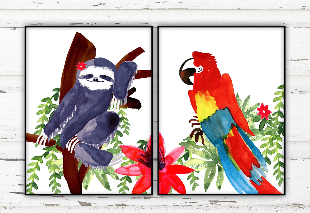 Sloth Macaw Print Set by Sara Franklin