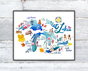 The Great Lakes Map by Sara Franklin