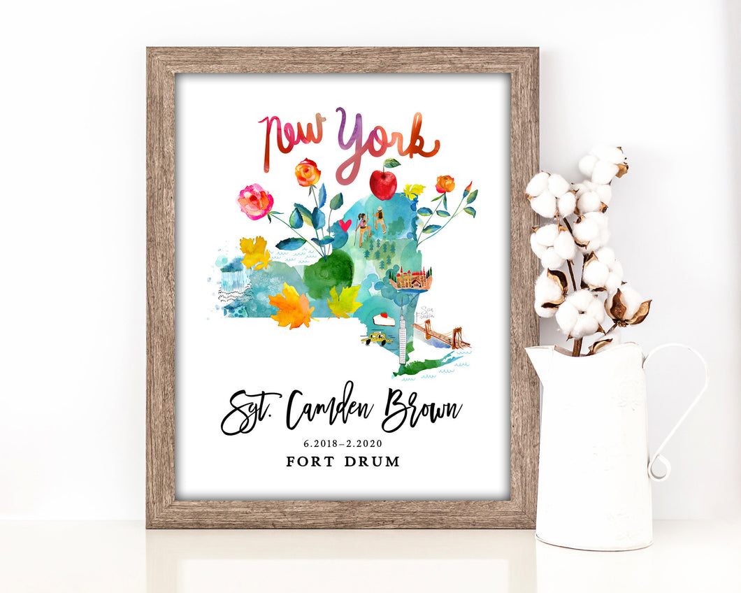 Personalized New York Map by Sara Franklin, Map Your Military Journey