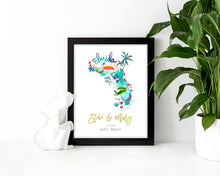 Load image into Gallery viewer, Personalized Florida Wedding Map by Sara Franklin