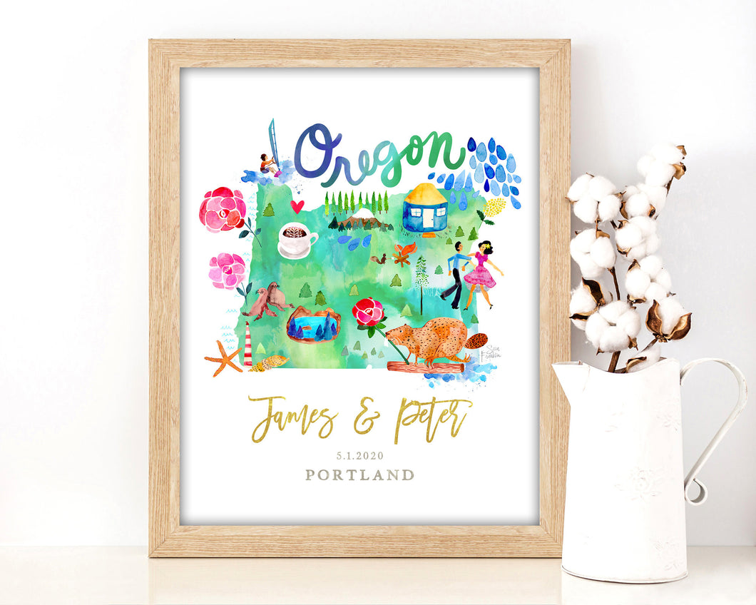 Personalized Oregon Wedding Map by Sara Franklin
