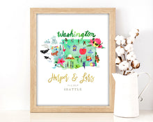 Load image into Gallery viewer, Personalized Washington Wedding Map by Sara Franklin