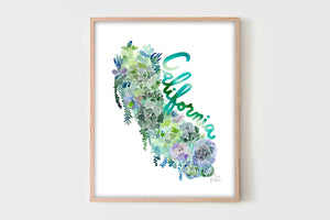California Succulents Map in Garden Green by Sara Franklin